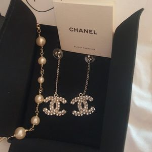 Chanel strass and metal dangle earrings